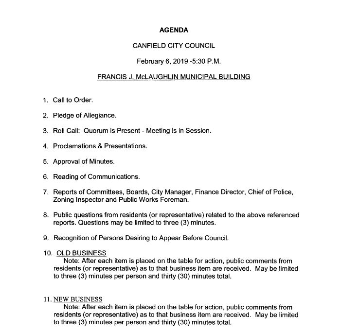 February 6, 2019 Agenda Packet Now Posted