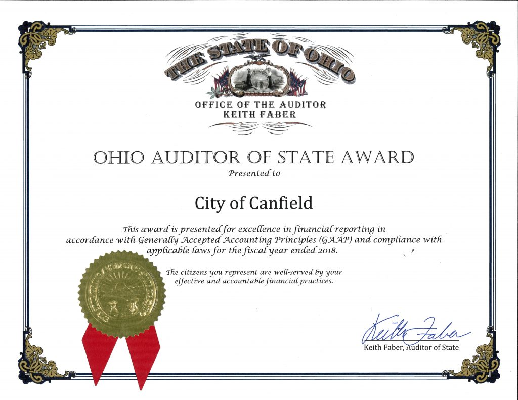 2018 Auditor of State Award
